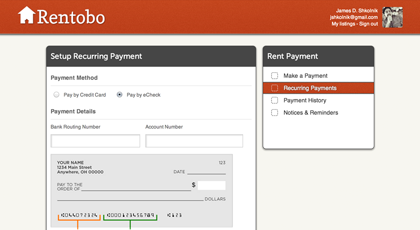 Online Rent Payments via eCheck or Credit Card